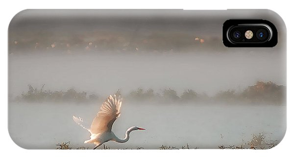 Great White Heron In Morning Mist IPhone Case