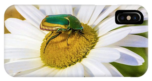IPhone Case featuring the digital art Green And Gold Beetle by Photographic Art by Russel Ray Photos