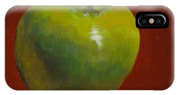 Green Apple On Red IPhone Case