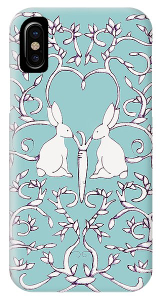 Green Blue Rabbits Leaves IPhone Case