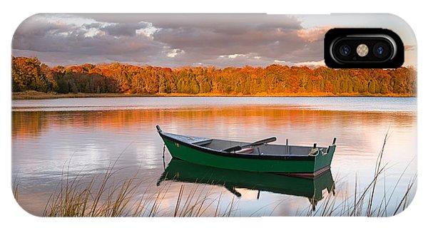 Green Boat On Salt Pond IPhone Case