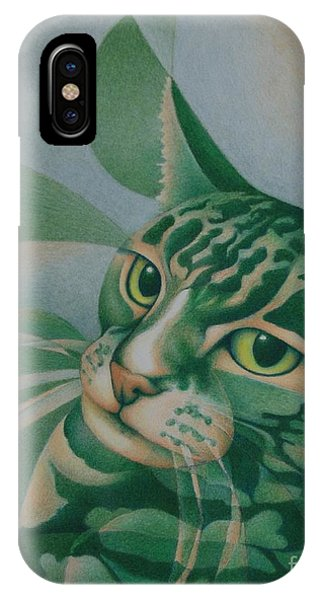 Green Feline Geometry IPhone Case