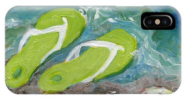 Green Fliip Flops On Tybee IPhone Case