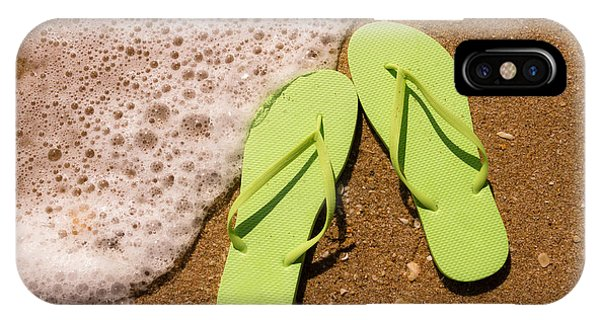 3d817dd7c89d The Flop iPhone Case - Green Flip Flops On The Beach by Teri Virbickis