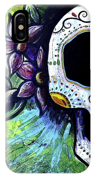 Midnite iPhone Case - Green Flower Skull by Lovejoy Creations