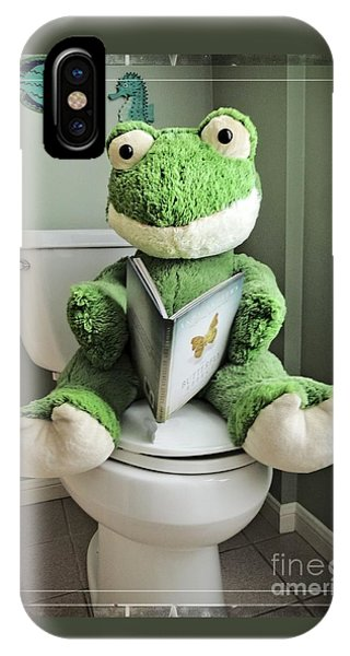 Green Frog Potty Training - Photo Art IPhone Case