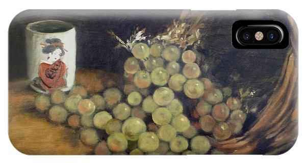 Green Grapes With Japanese Tea Cup IPhone Case