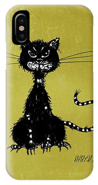 Green Grunge Evil Black Cat IPhone Case