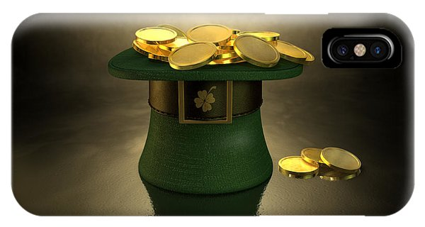 Irish iPhone Case - Green Leprechaun Hat Filled With Gold Coins by Allan Swart