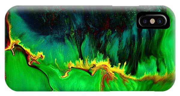 Green Panoramic Horizontal Abstract Art Lifeline By Kredart IPhone Case