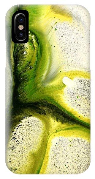 Green Peacock Feather Abstract Wall Art By Kredart IPhone Case
