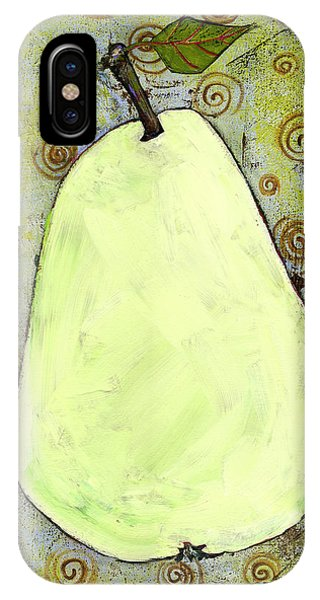 Green Pear Art With Swirls IPhone Case