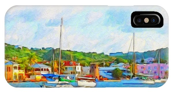 Green Sailboat On Mooring - Horizontal 1 IPhone Case