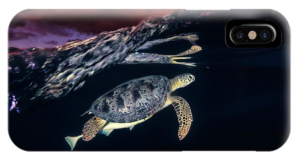 Travel iPhone Case - Green Turtle And Sunset - Sea Turtle by Barathieu Gabriel