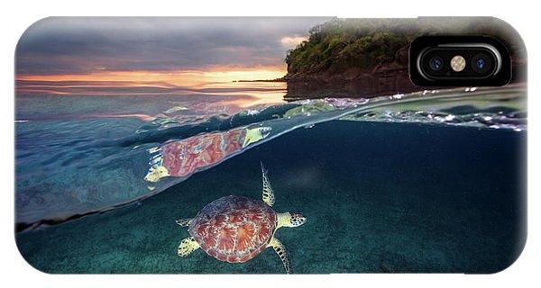 Underwater iPhone Case - Green Turtle With Sunset by Barathieu Gabriel