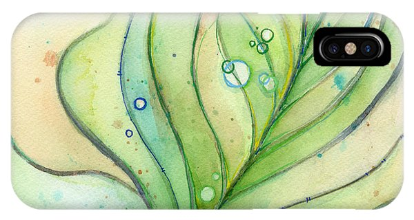 Bird Watercolor iPhone Case - Green Watercolor Bubbles by Olga Shvartsur