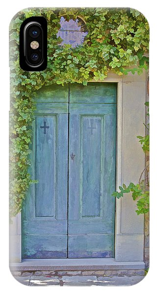 Green Wood Door Of Tuscany IPhone Case