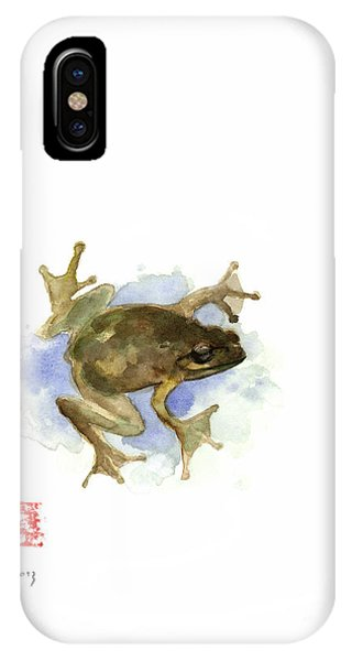 Amphibians iPhone Case - Green Yellow Blue Frog Lake River Animal World Water Colors Jewel Collection by Johana Szmerdt