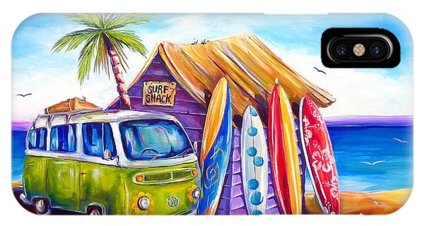 Surfboard iPhone Case - Greenie by Deb Broughton