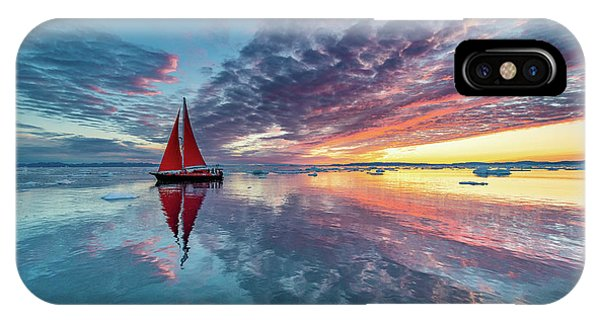 Red Sky iPhone X Case - Greenland Fire Sky by Marc Pelissier