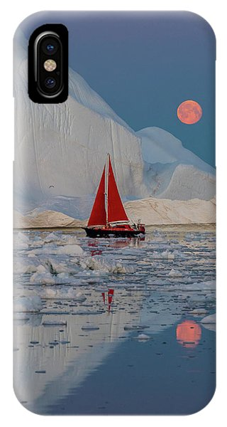 Red Sky iPhone X Case - Greenland Night by Marc Pelissier