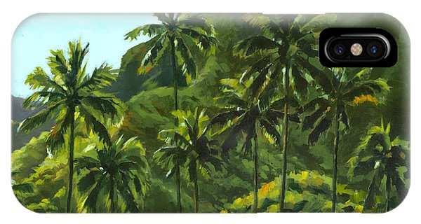 Palm Tree iPhone X Case - Greens Of Kahana by Douglas Simonson