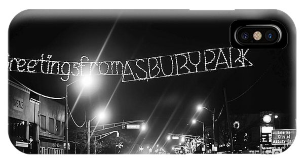 Greetings From Asbury Park New Jersey Black And White IPhone Case