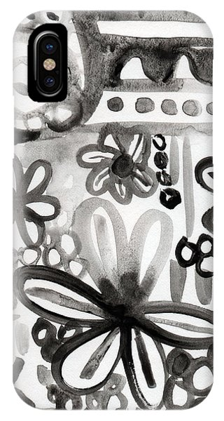 Nature Abstract iPhone Case - Grey Garden- Abstract Floral Painting by Linda Woods