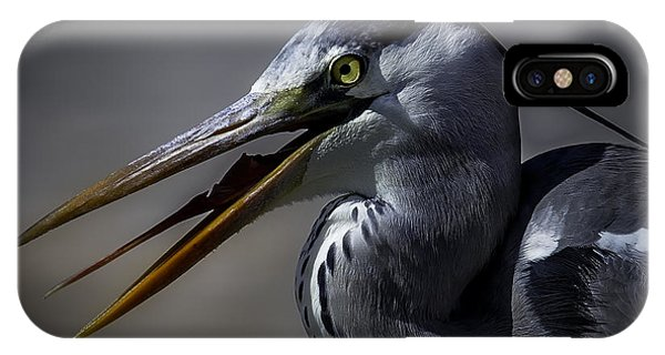 Grey Heron Profile With Open Beak Phone Case by Wild Artistic