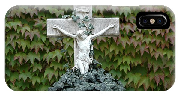 Grey Marmoreal Cross With Trailing Ivy IPhone Case