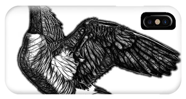 IPhone Case featuring the mixed media Greyscale Canada Goose Pop Art - 7585 - Wb by James Ahn