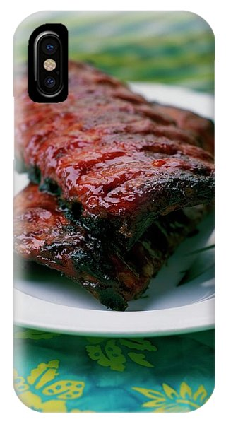 Grilled Ribs On A White Plate IPhone Case