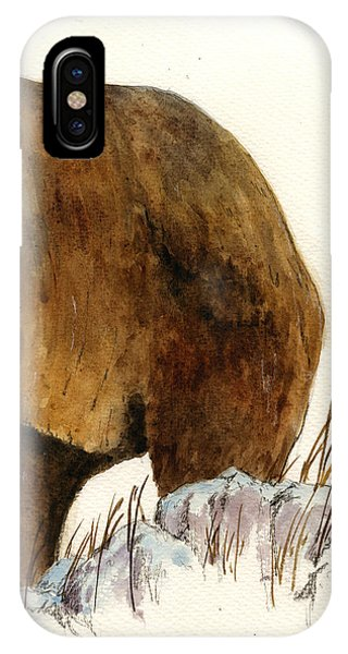 Brown iPhone Case - Grizzly Bear Second Part by Juan  Bosco