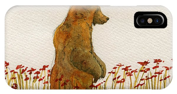 Brown Bear iPhone Case - Grizzly Brown Bear Flowers by Juan  Bosco
