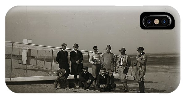 The Wright Brothers Group Portrait In Front Of Glider At Kill Devil Hill IPhone Case