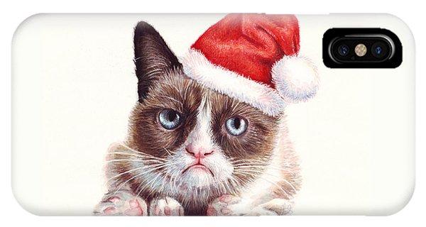 Funny iPhone Case - Grumpy Cat As Santa by Olga Shvartsur