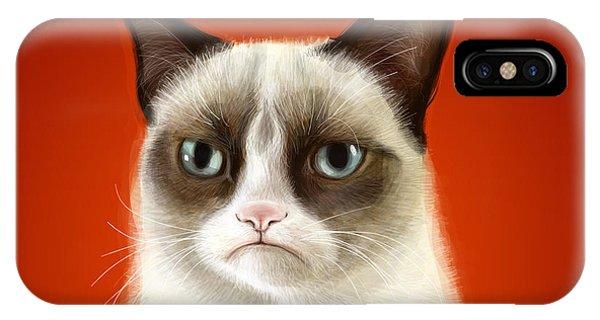 Cat iPhone Case - Grumpy Cat by Olga Shvartsur