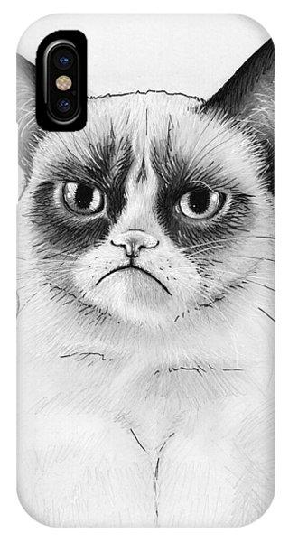 Cats iPhone Case - Grumpy Cat Portrait by Olga Shvartsur