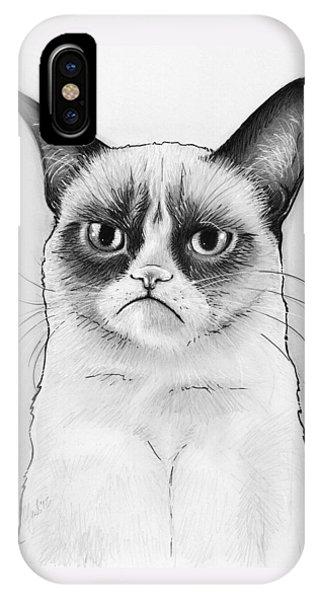 Cat iPhone X Case - Grumpy Cat Portrait by Olga Shvartsur