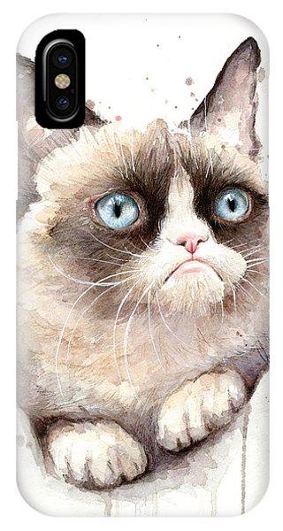 Pets iPhone Case - Grumpy Cat Watercolor by Olga Shvartsur