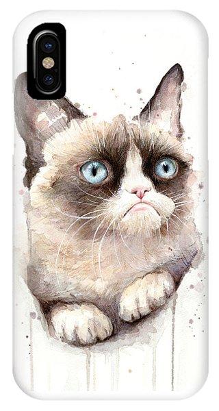 Portrait iPhone Case - Grumpy Cat Watercolor by Olga Shvartsur