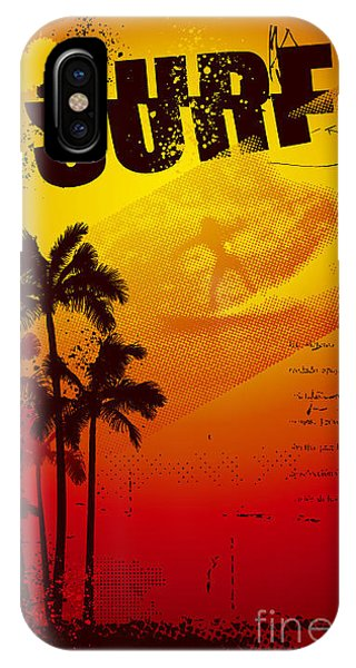 Funky iPhone Case - Grunge Surf Poster With Palms And Sunset by Locote