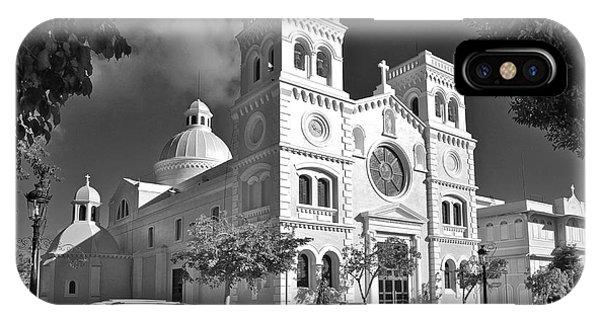 Guayama Church And Plaza B W 1 IPhone Case