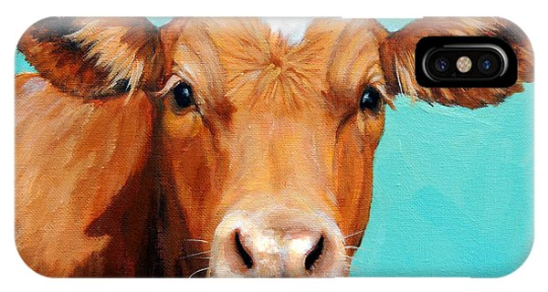 Cow iPhone X / XS Case - Guernsey Cow On Light Teal No Horns by Dottie Dracos