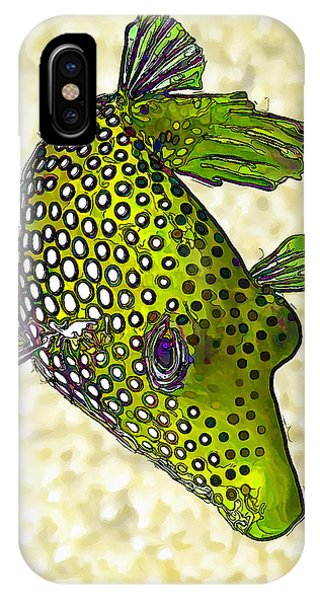 Guinea Fowl Puffer Fish In Green IPhone Case