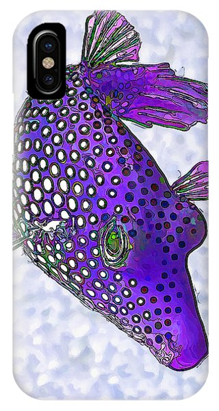 Guinea Fowl Puffer Fish In Purple IPhone Case