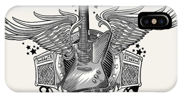 Musical iPhone Case - Guitar Emblem by Alex bond