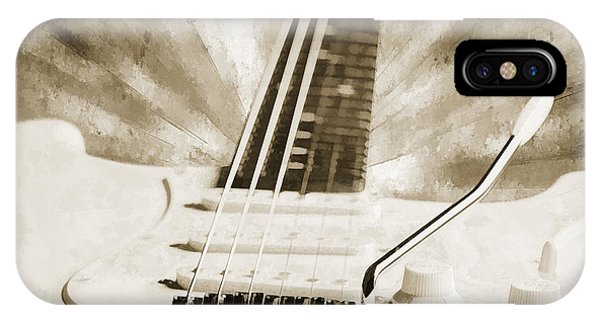 Guitar In Flight Painting Photograph In Sepia 3316.01 IPhone Case