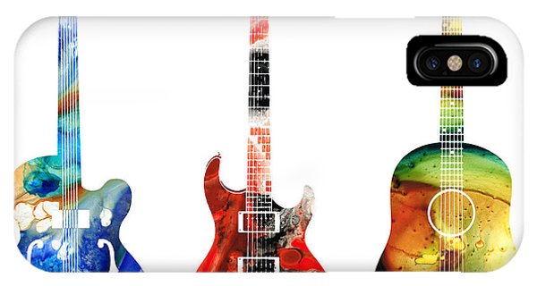 Rock And Roll Art iPhone Case - Guitar Threesome - Colorful Guitars By Sharon Cummings by Sharon Cummings