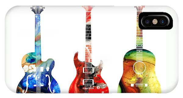 Rock And Roll iPhone Case - Guitar Threesome - Colorful Guitars By Sharon Cummings by Sharon Cummings